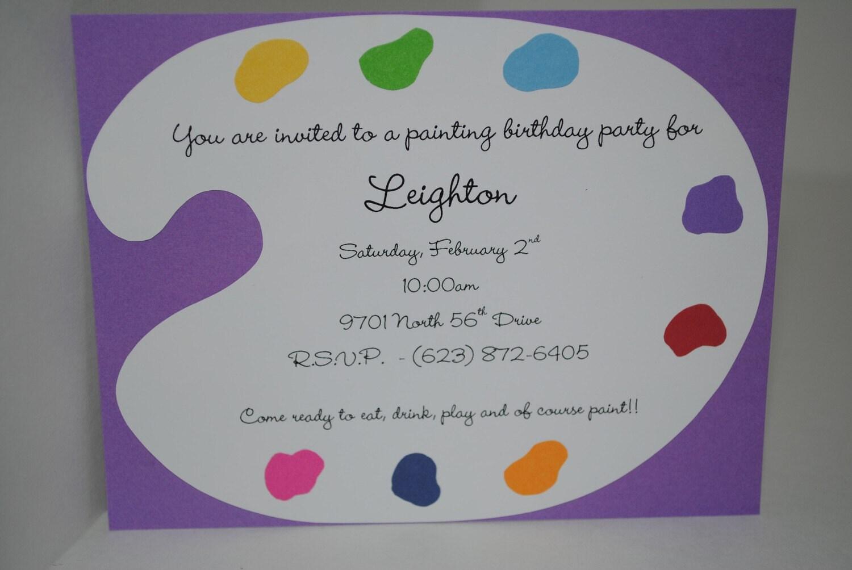 Paint Palette Birthday Invitation