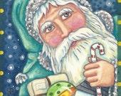 Blue BESLNICKLE St. Nick SANTA Candy Cane Christmas Portrait Holiday Art ACEO Susan Brack