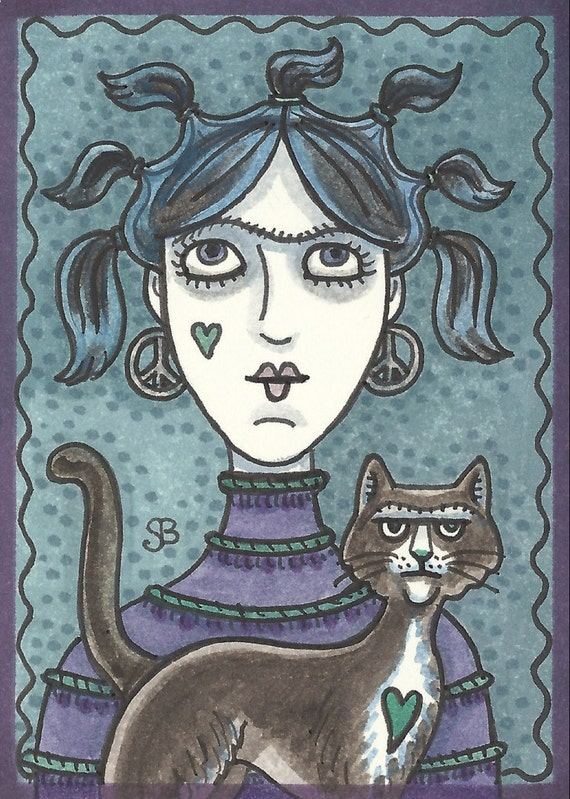 GOTH Gothic Punk Girl Black Cat EHAG ACEO Art Susan Brack Portrait Original