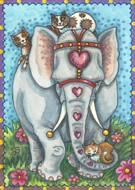 Cat's Ride Valentine Elephant  Holiday Original Whimsy Art ACEO Susan Brack Ebsq