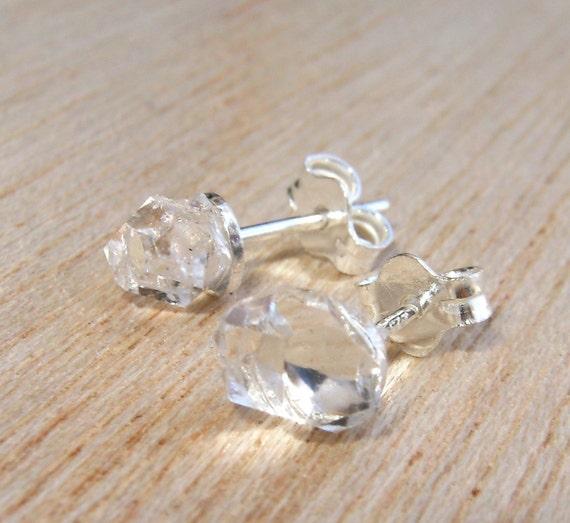 Raw Stones Herkimer Diamond Sterling Silver Stud Earrings