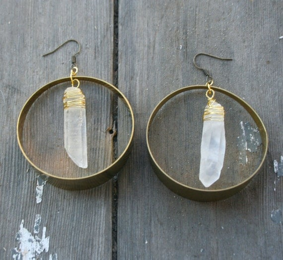 Quartz Crystal Point and Large Brass Hoop Earrings
