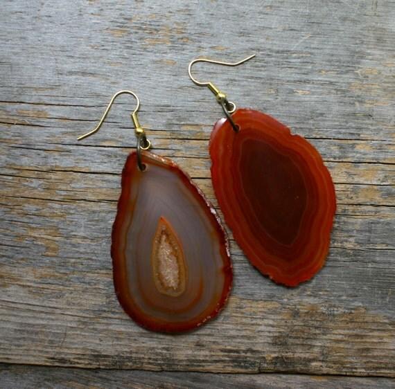 Hot Springs Agate Slice Earrings
