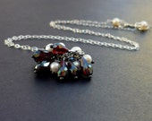 Necklace Gothic Victorian Garnet, Pearl,  Sterling Silver handmade jewellery by baublesforbellas on etsy The Cluster (Garnet and Pearl Necklace)