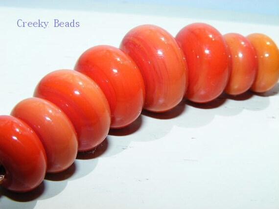 "Handmade Lampwork Beads ""Orange Punch"" Creeky Beads SRA"