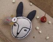 Mr. Rabbit with the long ears- fiber art brooch