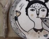 The secretfull plate- hand drawn art ceramic mini plate
