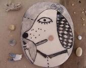 My sailor dog- hand drawn art ceramic tile