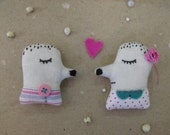 Me and you- two hedgehogs in love- fiber art brooches