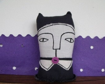 Violet- the school cat- art soft doll