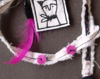 My Cat- fiber necklace pillow pendant