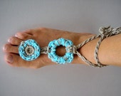 Anklet Jewelry Hippy Chic Bracelet Fiber Foot Crochet Dream of summer TURQUOISE ring Bohemian fashion Mother's day