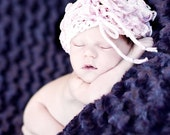 Photo prop Newborn girl Hat Knit Baby hat Handmade Knitting Crochet Kids Newborn Photography prop Pink Romantic Girl Hat
