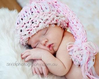 Pink Newborn Baby hat Baby girl hat Photo prop Baptism Knit girl hat Newborn Photography prop Pink Newborn girl hat Gift for Romantic Girl