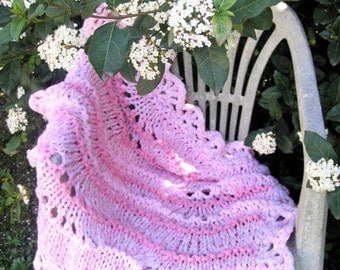 Knit Pink Baby blanket, Newborn girl Blanket Cradle Photo prop, Baby Blankest Handmade for baby, Baptism
