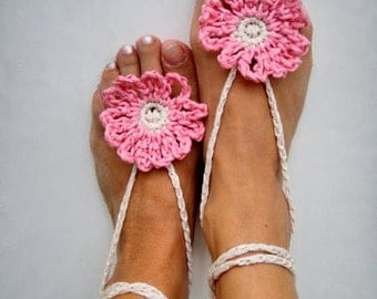 Pink Boho Anklet, Barefoot Sandals, crochet anklets, Beach wedding, Hippy Nude shoes, Yoga anklets, Bohemian Summer, Pink fashion women