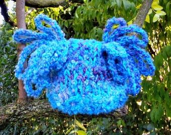 OOAK Crazy Newborn Hat Photo prop Baby Turquoise Newborn Hat Newborn hat Kids fashion Knitting Crochet Infants Newborn Photo prop