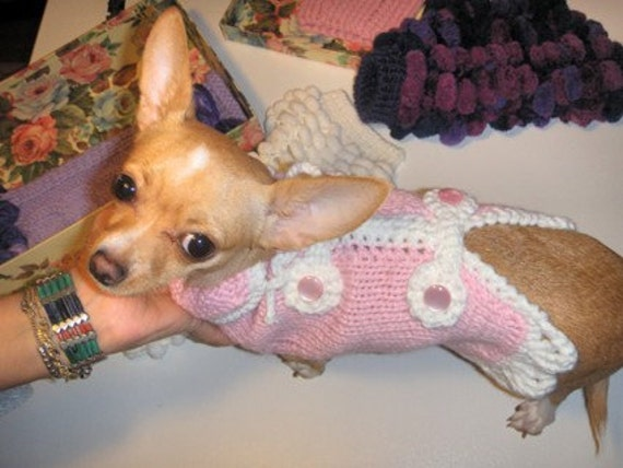pink chihuahua coat knit sweater chihuahua little dog clothin. Black Bedroom Furniture Sets. Home Design Ideas