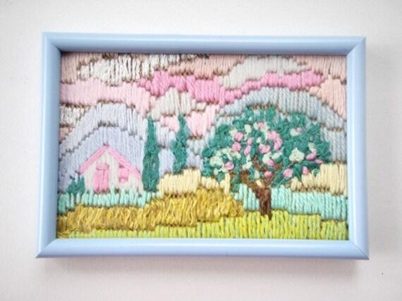Painting Miniature Tapestry Handmade Embroidery Landscape Wall Tapestry Textiles Fiber Art modern art Summer