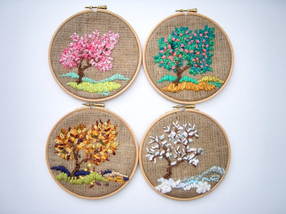 Hoop art tapestry embroidery hoop fiber art for Handmade items for home