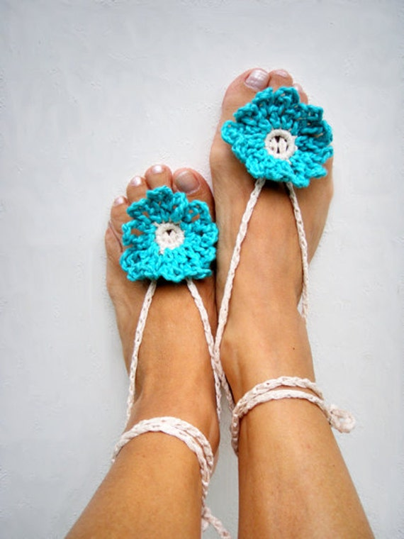 Turquoise Boho anklets Barefoot sandals Turquoise Anklets Beach Wedding Hippies Anklets Bohemian Accessories Nude shoes Yoga anklets