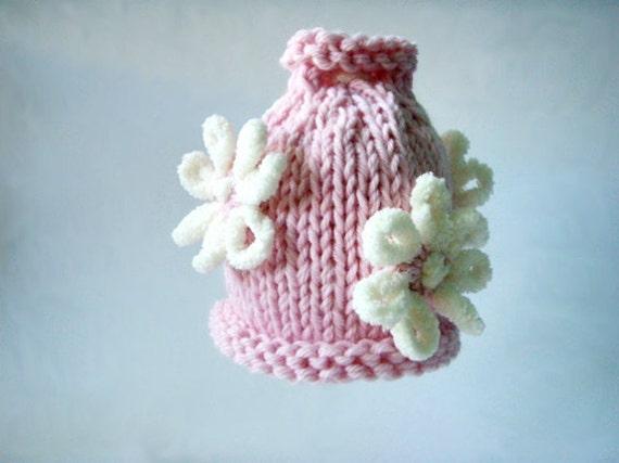 Newborn flower hat Baby Girl flower hat Newborn girl hat Gift for Baptism Baby fashion Newborn Photo Prop Knit Girl Hat Pink baby hat Flower