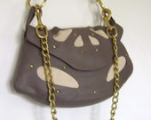 Leather And Canvas Handbag.