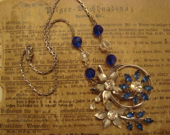 Vintage Blue Rhinestone Altered Necklace