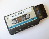 iPhone Sleeve Blue Retro Cassette Tape Fits iPod Touch Cell Phone and more