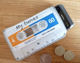 iPhone 4/4S iPhone 5 Sleeve Case Pouch Grey Cassette Tape