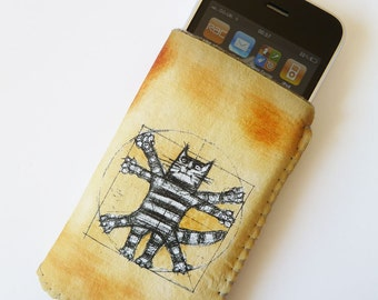 iPhone 5 iPhone 4/4S Sleeve Pouch Case Da Vinci Vitruvian Cat