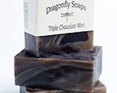 Chocolate Soap - 4 Bars - Handmade All Natural Body & Bar Soap - 4.0 oz - Triple Rich Chocolate Mint ( Yes - Indulge )