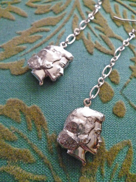 RESERVED for Emilyt1 // ONE EARRING  // Vintage Silver Plated Doll Heads Creepy Cute Lolita Earrings