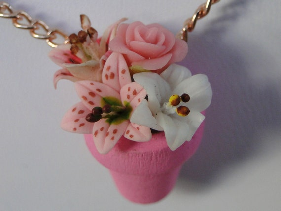 Pink Lily Flower Pot Necklace with Roses and Lilies