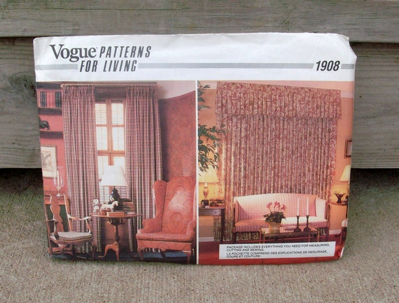 1987 Never Been Used Vintage Vogue Pattern 1908 Pinched Pleated Draperies For Your Home