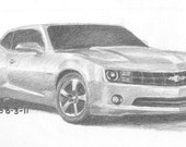 A Close Up Drawing of a Chevrolet Camaro