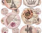 Par Le Vous - 1 inch Circles - Digital Collage Sheet - Instant Download and Print