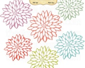 Floral Bursts Clip Art Set - Personal and Commercial Use - Digital Instant Download