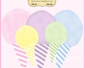 Cotton Candy Clip Art Set - Personal and Commercial Use - Digital Instant Download