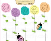 Ladybugs & Flowers Clip Art Set - Personal and Commercial Use - Digital Instant Download