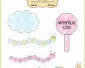 Caterpillar Crossing Clip Art Set - Personal and Commercial Use - Digital Instant Download