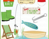 Gone Fishin Clip Art Set - Personal and Commercial Use - Digital Instant Download