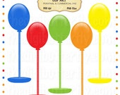 Festive Balloon Poles Clip Art Set - Personal and Commercial Use - Digital Instant Download