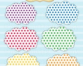 Polka Dot Clouds Clip Art Set - Personal and Commercial Use - Digital Instant Download