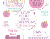 Weightloss Inspire - 1 inch Circles - Digital Collage Sheet - Instant Download and Print