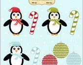 Holiday Penguins Clip Art Set - Personal and Commercial Use - Digital Instant Download