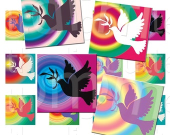 The Dove - 1 inch Squares - Digital Collage Sheet - Instant Download and Print