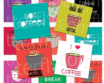 Coffee Break - 2 inch Squares - Digital Collage Sheet - Instant Download and Print
