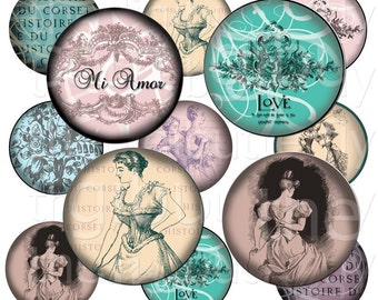 Mi Amor - 2 inch Circles - Digital Collage Sheet - Instant Download and Print