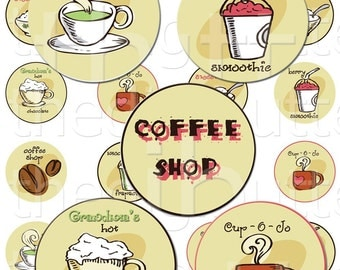 Coffee Shop - 1 inch Circles - Digital Collage Sheet - Instant Download and Print